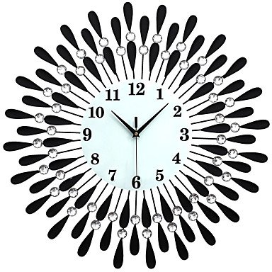 zhENfu Large Diamond Luxury Living Room Wall Clock Iron European Modern Fashion Creative Personality Mute Watches Black Wall - European Modern Fashion