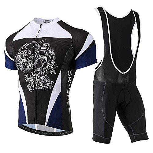Skysper Cycling Jersey Set Men, MTB Bike Bib Short Sleeve Quick-Dry Breathable Shirt 3D Cushion Shorts Padded Pants