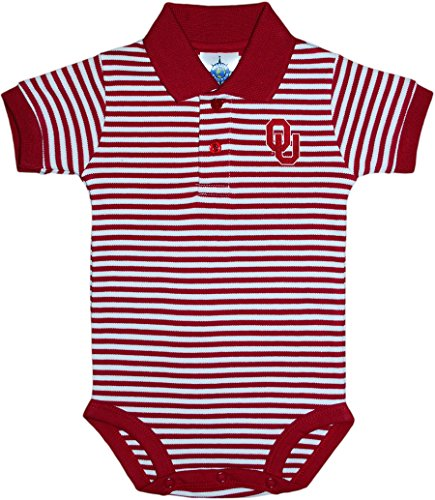 Creative Knitwear University of Oklahoma Sooners Newborn Striped Polo Bodysuit ()
