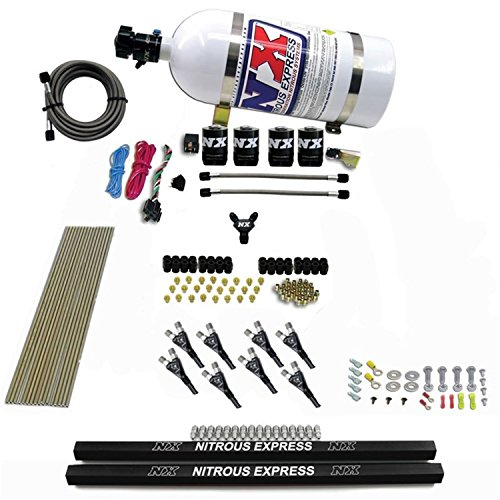 Nitrous Express 8 Cylinder (Nitrous Express 91006-10 200-600 HP 8-Cylinder Gasoline Pro Shark Direct Port System with 4 Solenoids, Rails and 10 lbs. Bottle)