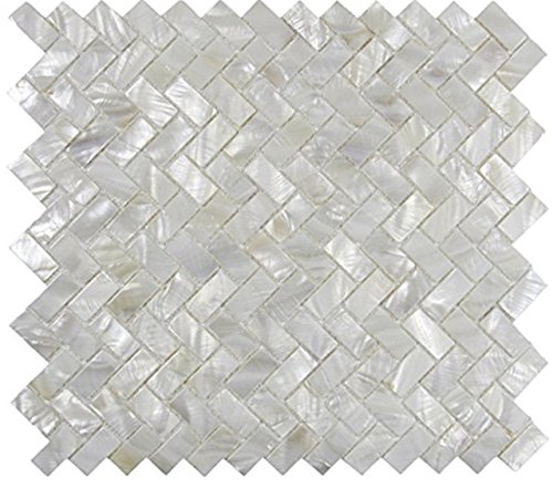 AFSJ Genuine White Herringbone Mother of Pearl Tile 12 Packs-Bathroom Kitchen Backspalsh by AFSJ