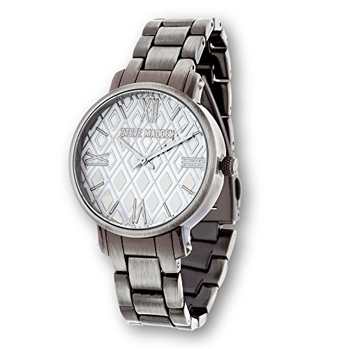 Steve Madden Womens Leather Watch with Diamond Dial Silver (Roman Outfits For Womens)