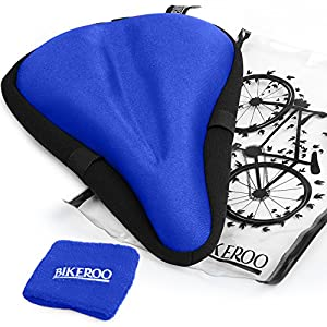 "Bikeroo Most Comfortable Bike Seat Cushion Cover - 11"" x 7"" Premium Quality Exercise Bicycle Saddle Pad With Soft Gel for Women and Men - Great for Indoor Cycling Class and Stationary Bike"