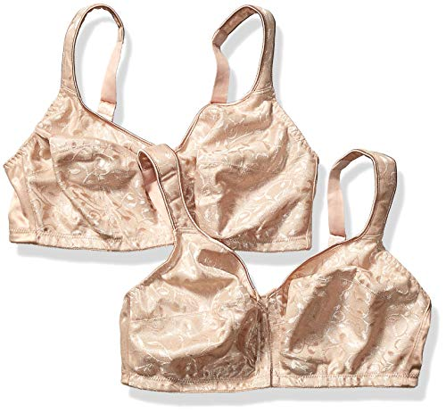 Just My Size Women's Easy-On Front Close Wirefree Plus Size Bra 2-Pack, Nude, 42D (Just Front Size Bra Close My)