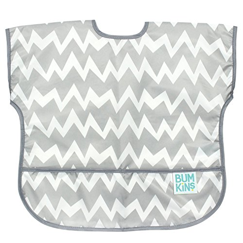 (Bumkins Junior Bib / Short Sleeve Toddler Bib / Smock 1-3 Years, Waterproof, Washable, Stain and Odor Resistant –  Gray)