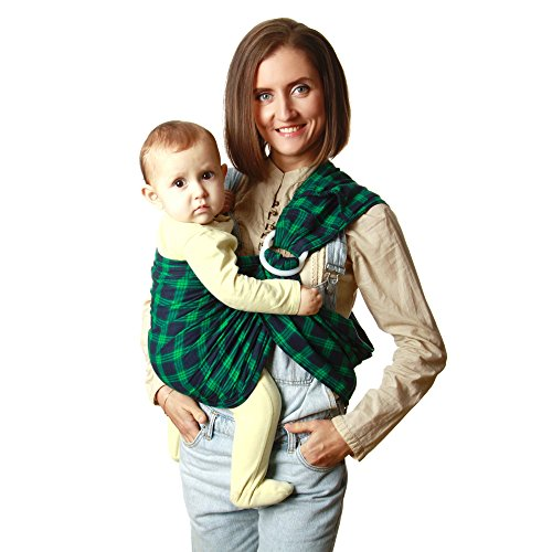 KiddyRay Ring Sling Baby Carrier Wrap – Cotton Natural Fabric – for Newborns Infants Toddlers – Baby Shower Gift – Breastfeeding Nursing Cover – Green – One Size Fits ()