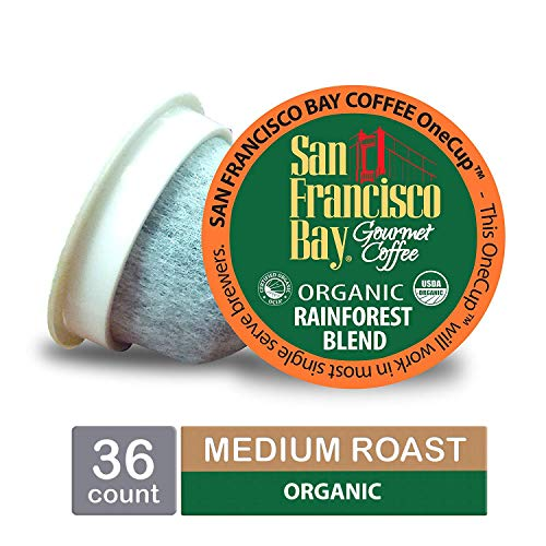 Organic Pods - San Francisco Bay OneCup, Organic Rainforest Blend, Single Serve Coffee K-Cup Pods (36 Count) Keurig Compatible