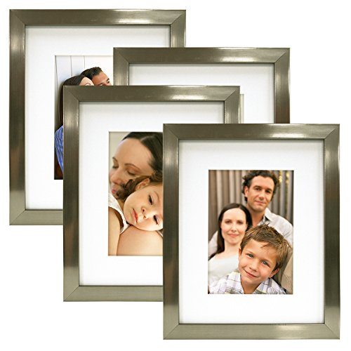 MCS 8X10 Gallery Picture Frame Matted to Display 5X7 Pictures Glass Front (Champagne) 4 Pack
