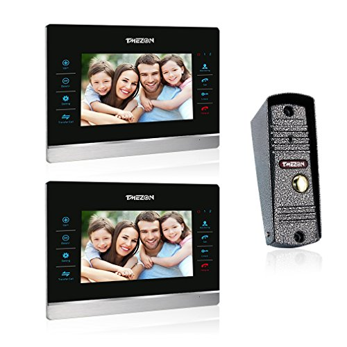 TMEZON (Wired)7-Inch Video Door Phone Doorbell With Intercom Kit System HD 1200TVL Night Vision 1-Camera 2-Monitor and Night Vision Video Recording -  MZ-VDP-718EM/2-SN80/1-A1