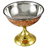 Set of 4, Ice Cream Cup Bowl with Stand Copper Stainless Steel Tableware for Desserts, Diameter 4 Inches