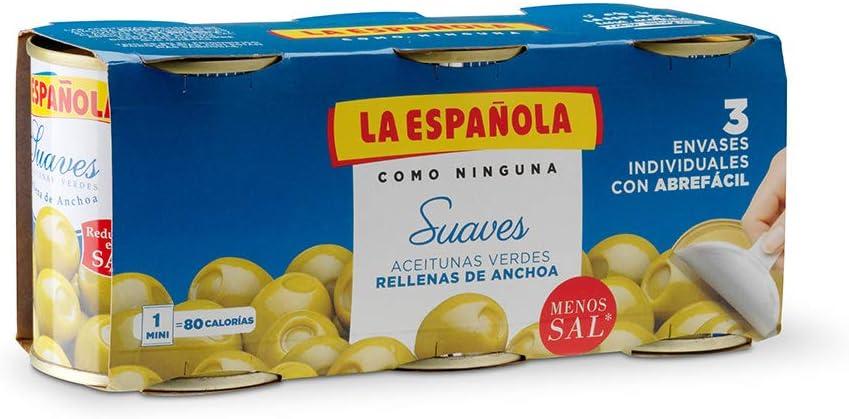 La Española - Aceitunas verdes rellenas de anchoa suaves - 3 x 120 g