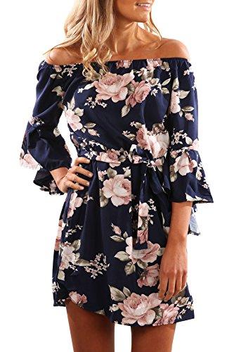 Yidarton Mujer Vestido Boho Fuera Del Hombro Manga Corta Floral Del Partido Del Playa Para Verano azul oscuro