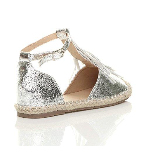 Espadrilles Pompon Plat Argent Taille T Chaussures Frange Boucle bar Dames Sandales Métallique Femmes 6wUqFSBq