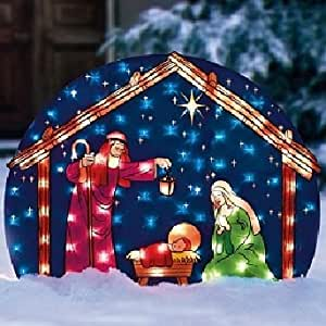 Amazon.com: Lighted NATIVITY SET Christmas Outdoor ... on Backyard Decorations Amazon id=27972