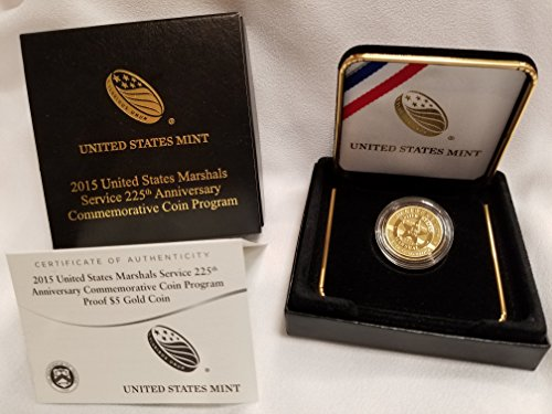 Us Commemorative Gold Coins (2015 W U.S. Marshals Service 225th Anniversary Gold Commemorative Coin Original Box and COA $5 Proof US Mint)