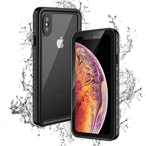 iPhone Xs Max Waterproof Case, i.VALUX Ultra Slim Snowproof Shockproof Dustproof Underwater Full Protective Case Built-in Screen Protector Apple iPhone Xs Max 6.5 Inch 2018 Release - Black