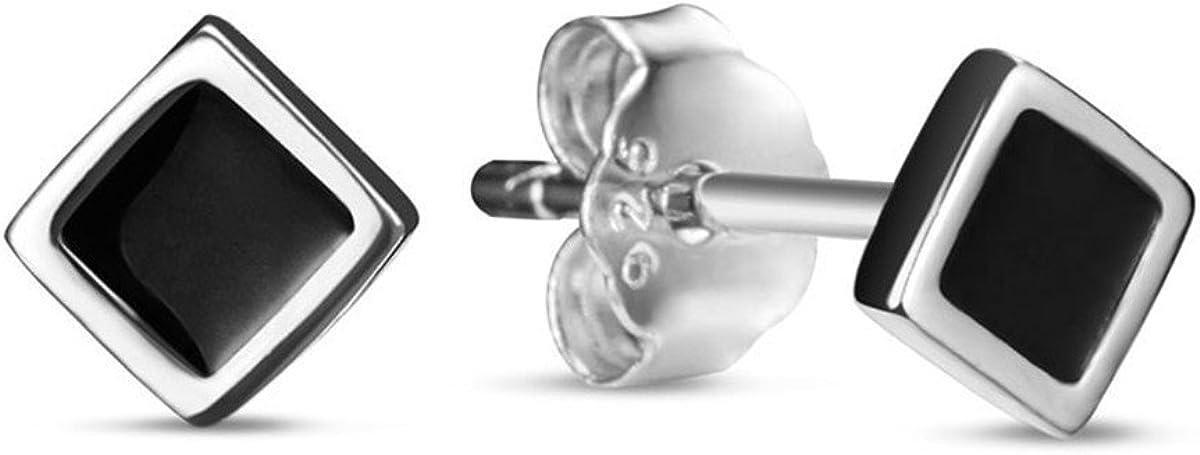 TINYSAND-Boucles doreilles noires carres en Argent 925 Sterling