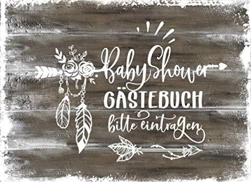 Baby Shower Gästebuch: Rustikales Babyshower Gäste Buch Liniert Zum Ausfüllen: Rat für Eltern, Wünsche für Baby, Geschenke Log - Mädchen Junge ... / Party Dekoration Holz Boho (German Edition) (Holz-hölzer)