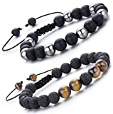 LYLYMIMI Tiger Eyes Stone Lava Bead Bracelets for Men Hematite Stretch Bracelet