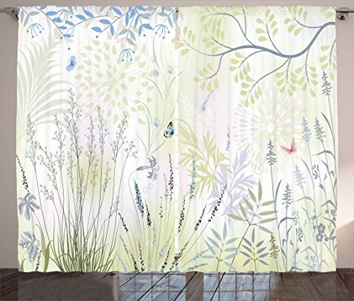 Ambesonne Nature Curtains, Wild Herbs and Butterfly Fern Cur