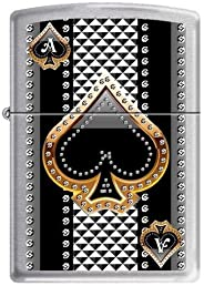 Zippo 7951 Classic Ace of Spades Brushed Chrome Windproof Pocket Lighter