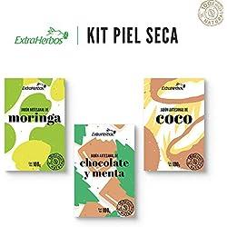 Kit de 3 jabones artesanales para piel seca (Jabón Moringa, Chocolate y Menta y Coco