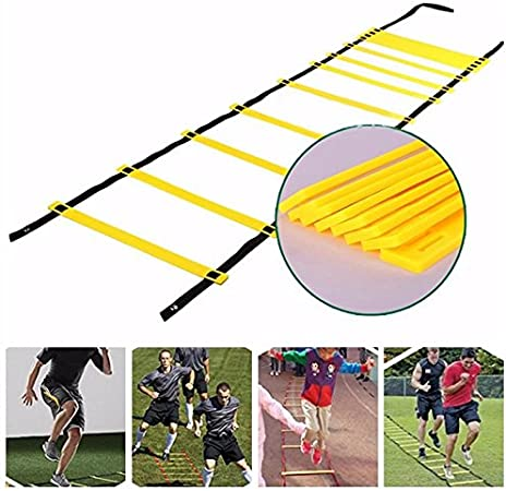 Aolvo Escalera de ejercicios de agilidad portátil de 23 pies para entrenamiento de velocidad, escalera de entrenamiento duradera para fútbol, baloncesto, sanidad, Asilo, con bolsa de transporte, 13 peldaños ajustables, amarillo: Amazon.es: