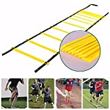 Aolvo 23ft Agility Exercise Ladder Portable Speed Training Equipment Durable Workout Ladder for Soccer Football Basketball Insanity Asylum Footwork with Carry Bag, 13 Adjustable Rungs, Yellow