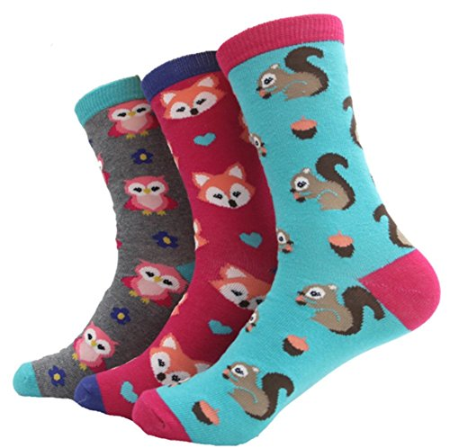 3 Pairs cartoon squirrel fox owl cute lovely animal cotton short socks women girls lady female crew sock candy color (Lovely Cotton Short)