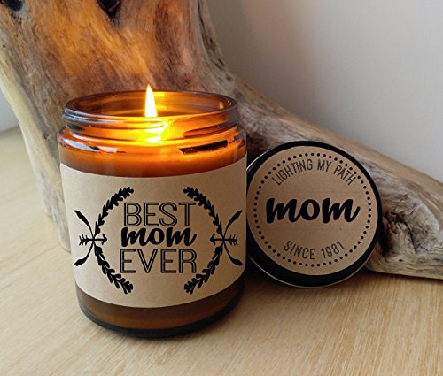 Best Mom Ever Candle Gift Personalized Scented Jar Candle 9 oz Soy Candle Best Mom Ever