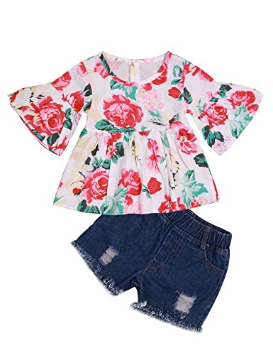 08e5102f1e02 fiercewolf 2Pcs Toddler Baby Girl Summer Outfits Floral Print Ruffle T-Shirt  + Ripped Jeans