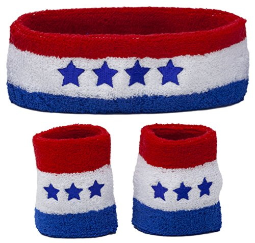 Funny Guy Mugs Good Ole USA Unisex Sweatband Set (3-Pack: 1 Headband + 2 Wristbands) -