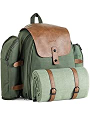 VonShef Large Picnic Backpack for 4 with Insulated Cooler Compartment - Picnic Set with Stainless Steel Cutlery, Picnic Blanket, Removable Bottle Holder and Wine Carrier - Green Adventure Backpack