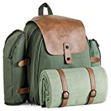 VonShef Large Picnic Backpack for 4 with Insulated Cooler Compartment - Picnic Set
