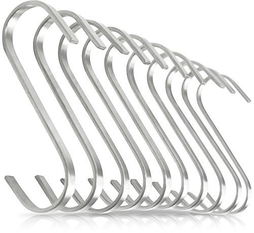Pro Chef Kitchen Tools Flat Hanging Hooks - Pot Racks S Hook 10 Pack Set - Hang Display Jewelry - Metal Utility Hooks for Outdoor Storage Organization - Butcher Meat Hangers for Bacon Sausage Smokers