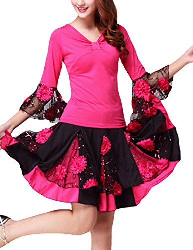 MFrannie Women's Latin Dance Floral Dress Costume Suit Set Top and Skirt Rose M (Latin Dancing Costume Patterns)