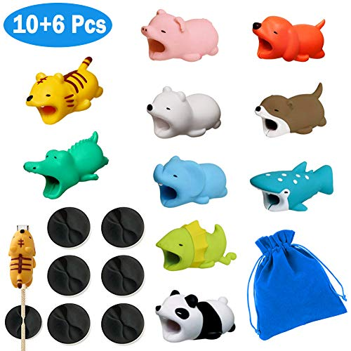 10+6 Animal Cable Charger Protector 10-Pack Accessory Bites, Cute Pet Charging Cable Saver for iPhone & Samsung USB Cord Includes 6 Desktop Cable clamp