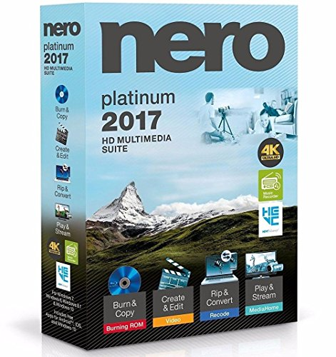 Nero 2017 Platinum 4K Ultra HD Multimedia Suite for Wins 10, 8,...