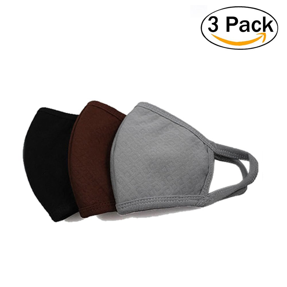 Mouth Face Mask, Unisex 3 Pcs Activated Carbon Cotton Masks EXO Mask Anti Dust Allergy Flu Muffle Outdoor Anti Fog Warm Face Mouth Mask Topivot