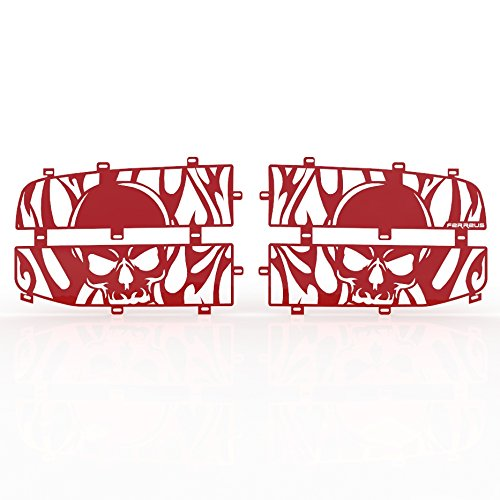 Ferreus Industries Grille Insert Guard Skull Flame Red Powdercoat fits: 2006-2008 Dodge Ram 1500 TRK-115-10-Red-a ()
