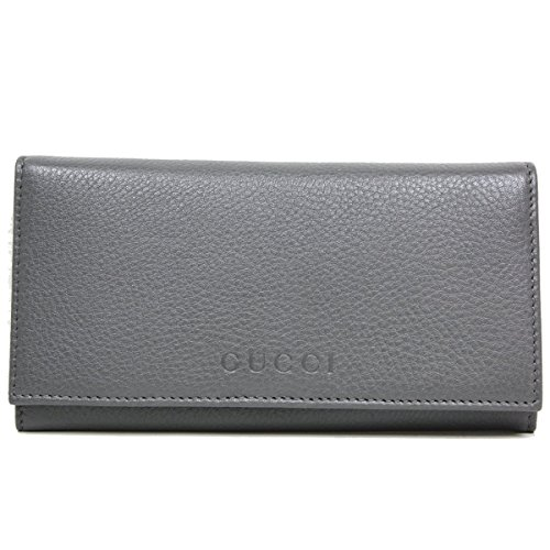 Gucci Business Card Holder (Gucci Silver Grey Leather Continental Flap Wallet 305282)