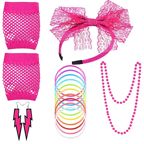 Women's 80s Fancy Dress Accessories Lace Headband Neon Earrings Fingerless Fishnet Gloves Necklace Bracelet for Fashion Retro 80s Party Outfit Costume Set Ladies and Girls ()