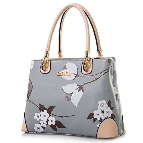 Womens Vintage Shoulder Bag All-over Flowers Pu Leather Tote Purse Cross Body Handbag (Grey)