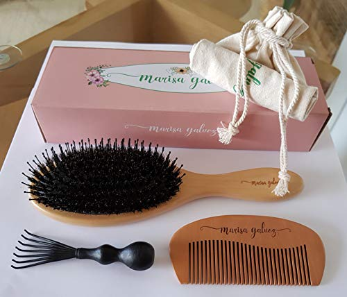 Hair Brush For Women - Boar Bristle Hair Brush - Detangling Straightening Wooden Comb - Adds Shine And Improve Hair Texture - For Long Short Thin Delicate Hair - Hair Brush Cleaner And Bag As Gifts by Marisa Galvez