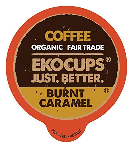 EKOCUPS Artisan Organic Burnt Caramel, Dark Roast Coffee in Recyclable Single Serve Cups for Keurig K-Cup Brewers, 20 Count