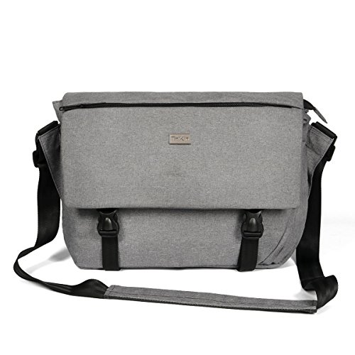 ThiKin Classic Sturdy Lightweight Casual Daily 14-Inch Laptop Messenger Bag for Women and Men Crossbody Shoulder Bag School Satchel