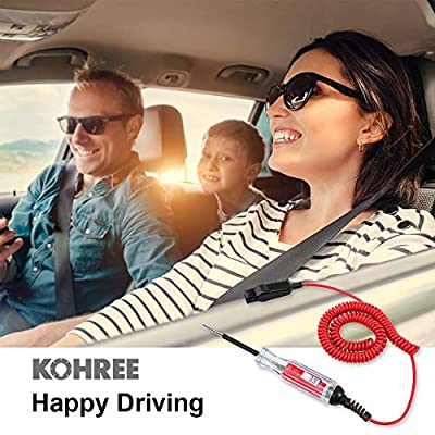 Kohree Heavy Duty 3-48V Digital LCD Display Circuit Tester with 140 Inch Extended Spring Wire,12v Car Truck Vehicles Low Voltage Tester, 12 Volt Automotive Test Light with Voltmeter Stainless Probe: Home Improvement