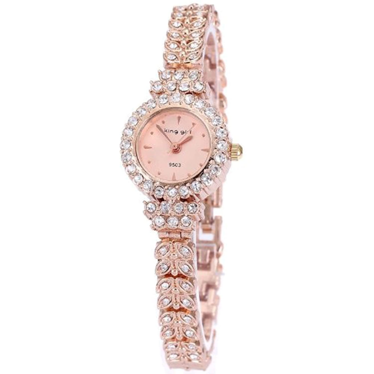 King Girl royal rose gold bracelet watch women top brand unique full crystal diamonds for ladies quartz round - pink dial