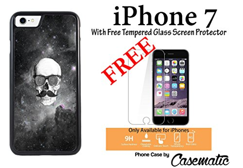 iPhone Case Floral Skull Hipster Mustache Plastic Black Phone Case For Apple iPhone 7 With Free .33 mm Premium Tempered Glass Screen Protector by Casematic (667 Hipster)