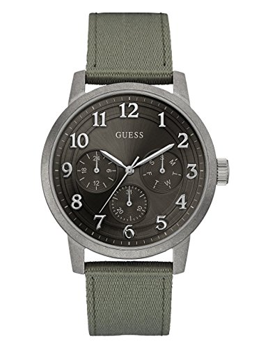 GUESS-Mens-Quartz-Stainless-Steel-and-Nylon-Casual-Watch-ColorGreen-Model-U0975G4